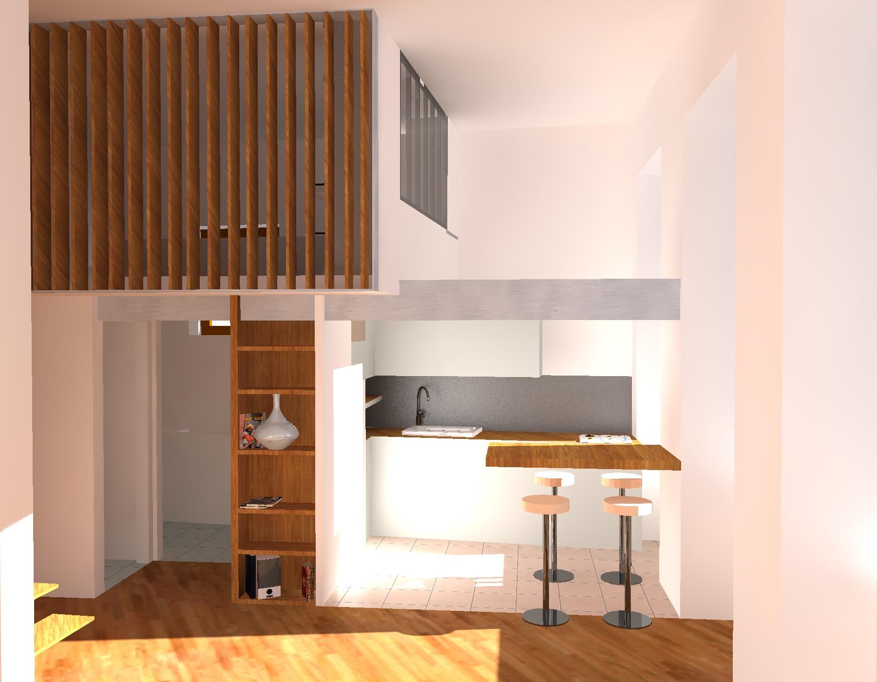 vue projete sur la cuisine et la mezzanine depuis le salon